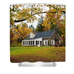 Stone Cottage In The Fall Shower Curtain by Kenneth Cole