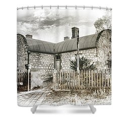 Shower Curtain featuring the photograph Stone Cottage by Wayne Sherriff