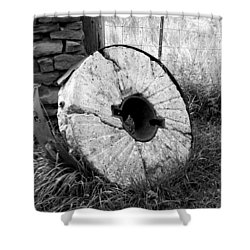 The Old Stone Grinding Wheel Shower Curtain
