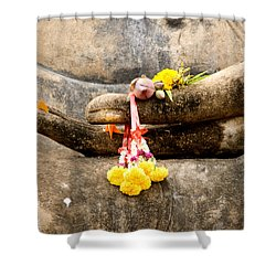 Stone Hand Of Buddha Shower Curtain