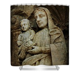Stone Madonna And Child Shower Curtain