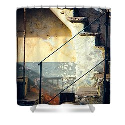 Shower Curtain featuring the photograph Stone Steps Outside An Old House by Silvia Ganora