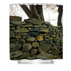 Shower Curtain featuring the photograph Stone Wall, Colt State Park by Nancy De Flon