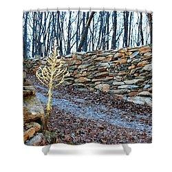 Stone Wall Ga Mountain 1 Shower Curtain by Angela Murray