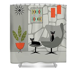 Stone Wall Gray Tones Shower Curtain