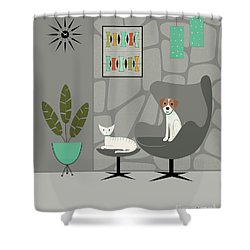Stone Wall With Dog And Cat Shower Curtain