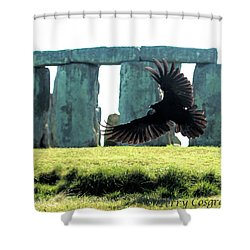 Stonehenge Crow Shower Curtain by Terry Cosgrave