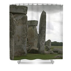 Stonehenge Side Pillars Shower Curtain by Mary Mikawoz