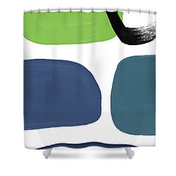 Shower Curtain featuring the mixed media Stones 7- Modern Art By Linda Woods by Linda Woods