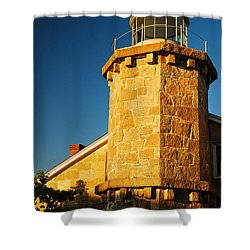 Stonington Light Shower Curtain by James Kirkikis