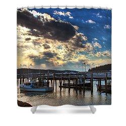 Stonington Lobster Boats Shower Curtain