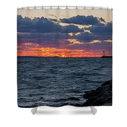 Stonington Point Sunset Shower Curtain