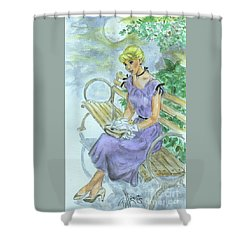 Shower Curtain featuring the painting Stood Up by P J Lewis