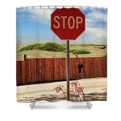 Shower Curtain featuring the photograph Stop For Naked Ladies by James Eddy