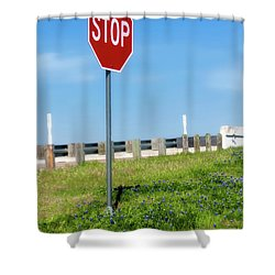 Stop For The Blue Bonnets Shower Curtain by Joan Bertucci