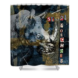 Stop Rhino Poachers Wildlife Conservation Art Shower Curtain