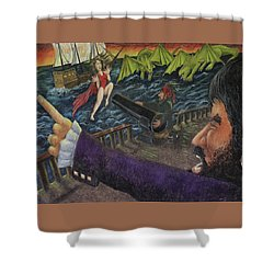 Stopping The Pirate Shower Curtain