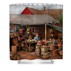 Shower Curtain featuring the photograph Store - Fruit - Grand Dad's Fruit Stand 1939 by Mike Savad