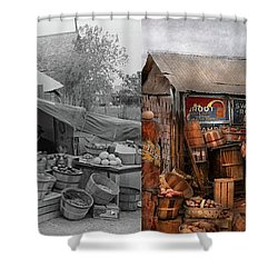 Shower Curtain featuring the photograph Store - Fruit - Grand Dad's Fruit Stand 1939 - Side By Side by Mike Savad