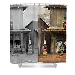 Shower Curtain featuring the photograph Store - Grocery - Mexicanita Cafe 1939 - Side By Side by Mike Savad