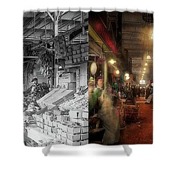 Shower Curtain featuring the photograph Store - Grocery - The First Superstore 1922 - Side By Side by Mike Savad