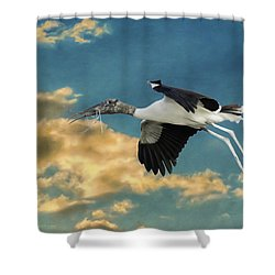 Stork Bringing Nesting Material Shower Curtain