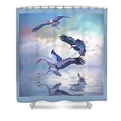 Storks Landing Shower Curtain by Brian Tarr