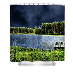 Shower Curtain featuring the photograph Storm Approaching The Pond by David Patterson