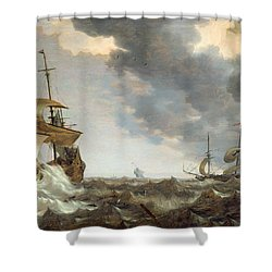 Storm At Sea Shower Curtain by Bonaventura Peeters