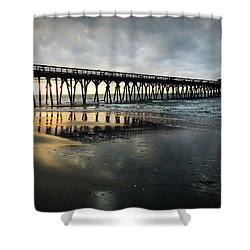 Storm At Sunrise In Color Shower Curtain by Kelly Hazel
