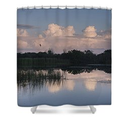 Storm At Sunrise Over The Wetlands Shower Curtain