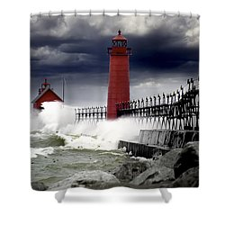 Storm At The Grand Haven Lighthouse Shower Curtain by Randall Nyhof