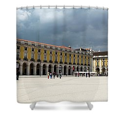 Storm Brews Over Commerce Square Shower Curtain by Lorraine Devon Wilke