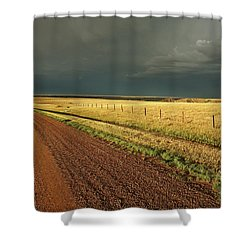 Storm Clouds Along A Saskatchewan Country Road Shower Curtain by Mark Duffy