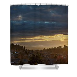 Storm Clouds Over Happy Valley During Sunset Shower Curtain by David Gn