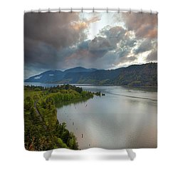 Storm Clouds Over Hood River Shower Curtain by David Gn
