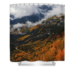 Storm Clouds Over Mcclure Pass During Autumn Shower Curtain by Jetson Nguyen