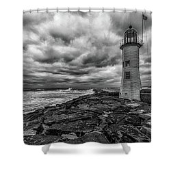 Storm Clouds Over Old Scituate Lighthouse In Black And White Shower Curtain