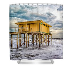 Shower Curtain featuring the photograph Storm Clouds Over The Ocean by Nick Zelinsky