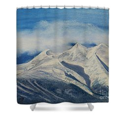 Storm Clouds Over Winter Mountain Blues Shower Curtain by Stanza Widen