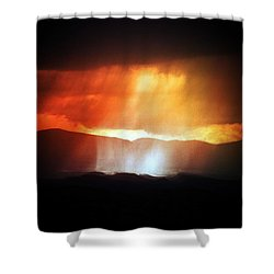 Shower Curtain featuring the photograph Storm Glow Night Over Santa Fe Mountains by Joseph Frank Baraba