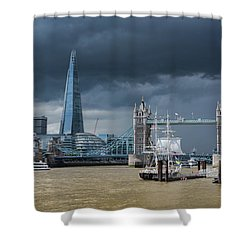 Shower Curtain featuring the photograph Storm Looming Over The Shard And Tower Bridge by Gary Eason