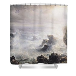 Storm Off The Coast Of Belle Ile Shower Curtain by Jean Antoine Theodore Gudin