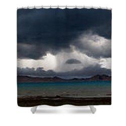 Storm On Karakul Lake. Panorama Shower Curtain by Konstantin Dikovsky
