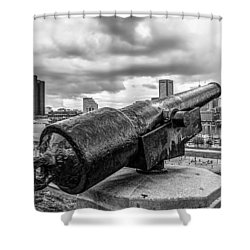 Storm Over Baltimore Black And White Shower Curtain by Wayne King