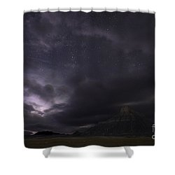 Shower Curtain featuring the photograph Storm Over Factory Butte by Keith Kapple
