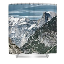 Shower Curtain featuring the photograph Storm Over Half Dome by Sandra Bronstein