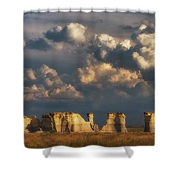 Shower Curtain featuring the photograph Storm Over Monument Rocks by Darren White