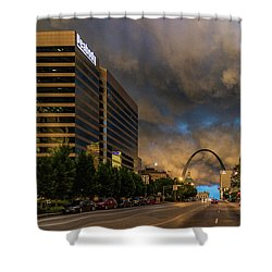 Storm Over St Louis And The Arch Shower Curtain by Garry McMichael