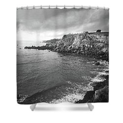 Shower Curtain featuring the photograph Storm Over The Eastern Shoreline Of Angra Do Heroismo Terceira by Kelly Hazel